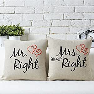Uphome Couples Pillow Covers Mr. and Mrs Right Decorative Cotton Linen Throw Pillow Covers/Cushion Cases Lumbar Pillowcases Set of -2 for 18-inch (heart)
