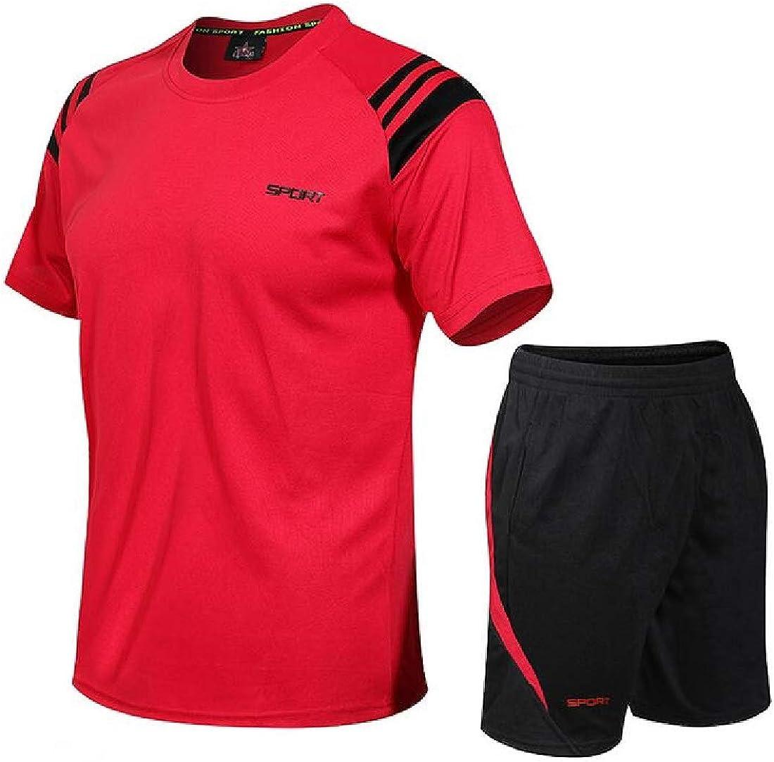 KLJR Men Quick-Dry T-Shirts and 2 Pieces Shorts Gym Sweatsuit Set