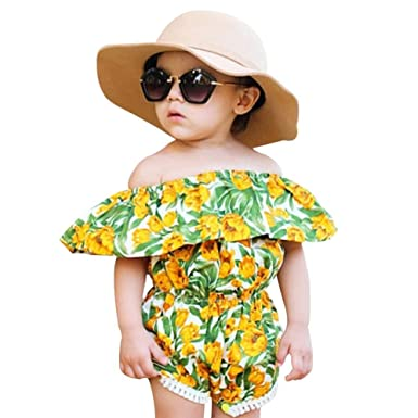 c5ee6a2f7cad Amazon.com  chinatera Baby Girls Floral Romper Fly-Sleeves Jumpsuit ...