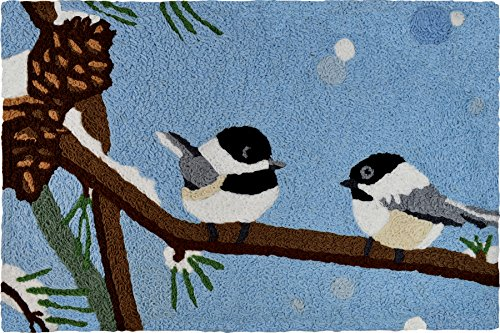 Jellybean Two Chickadees and Snow Covered Pine Cones Winter