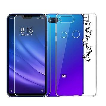 QFSM Funda para Xiaomi Mi 8 Lite Silicona Carcasa TPU Case Cover + 1 Pack HD Película Protectora Cristal Templado para Xiaomi Mi 8 Lite -WM166