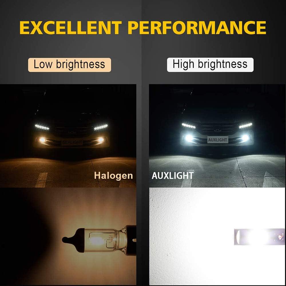 Super Bright High Power COB Chips LED Fog Daytime Running Lights DRL Bulbs Replacement for Cars Trucks AUXLIGHT H7 H7LL LED Fog Light Bulbs 6000K Xenon White Pack of 2