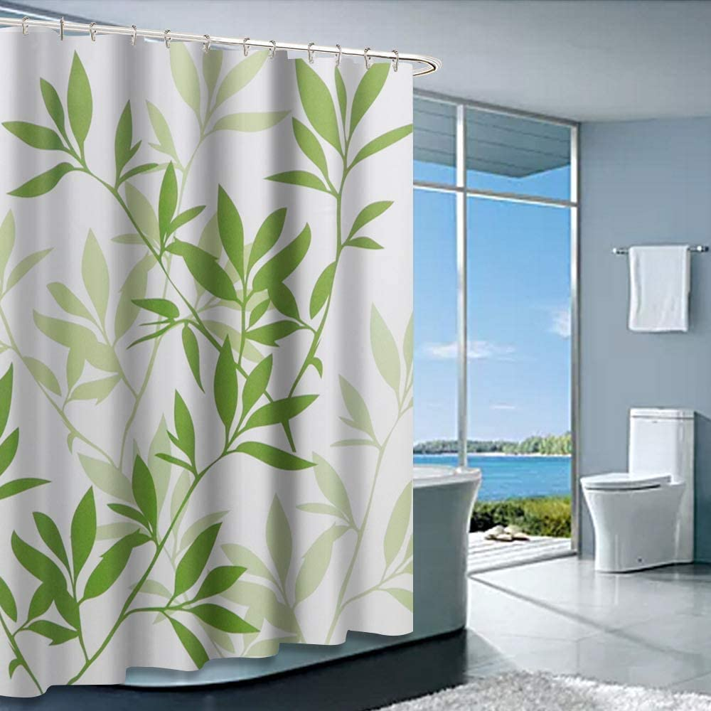 """Shower Curtain with Metal Hooks, 72"""" x 72"""" Thick Heavy Duty Fabric Bathroom Shower Curtain Set with Hooks No Chemical Odor Rust-Resistant Grommet Holes Modern Home Decorations Green Leaves"""