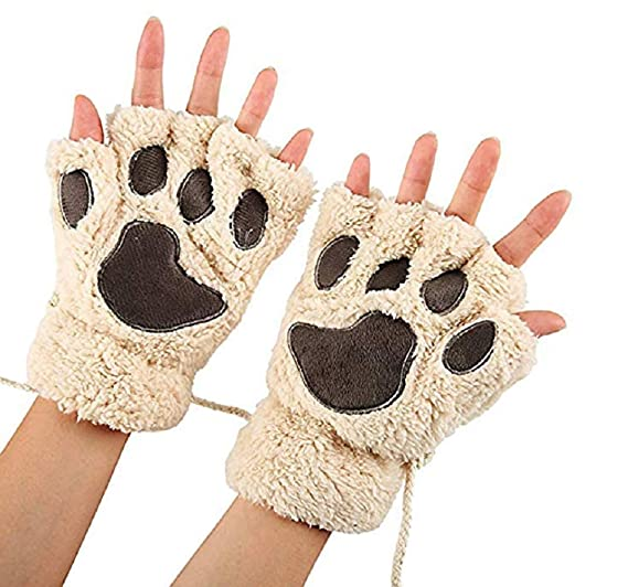 ae619561d3cf Aimeio Women Girl Fingless Gloves Cute Plush Bear Claw Cat Paw Soft Gloves  Winter Warm Mittens