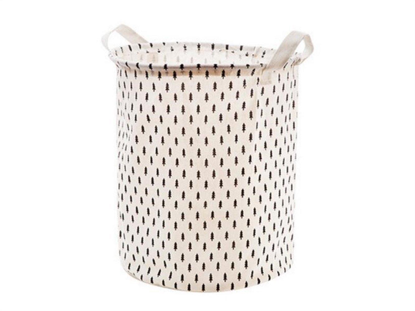 Gelaiken Lightweight Tree Pattern Tote Storage Basket Waterproof Storage Bucket Cotton and Linen Storage Box (White)