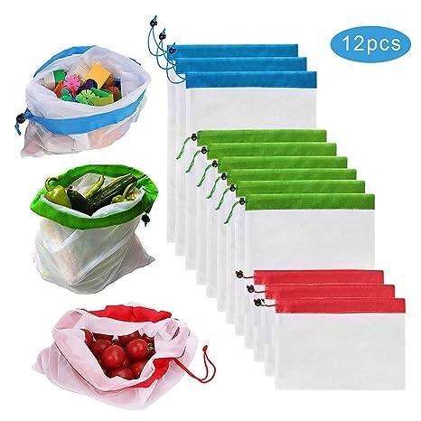 Amazon.com: Bolsas de malla reutilizables para productos de ...