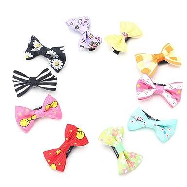 SKYlive 10 Pcs Hair Pins, Girl Ribbon Hair Bows With Clips
