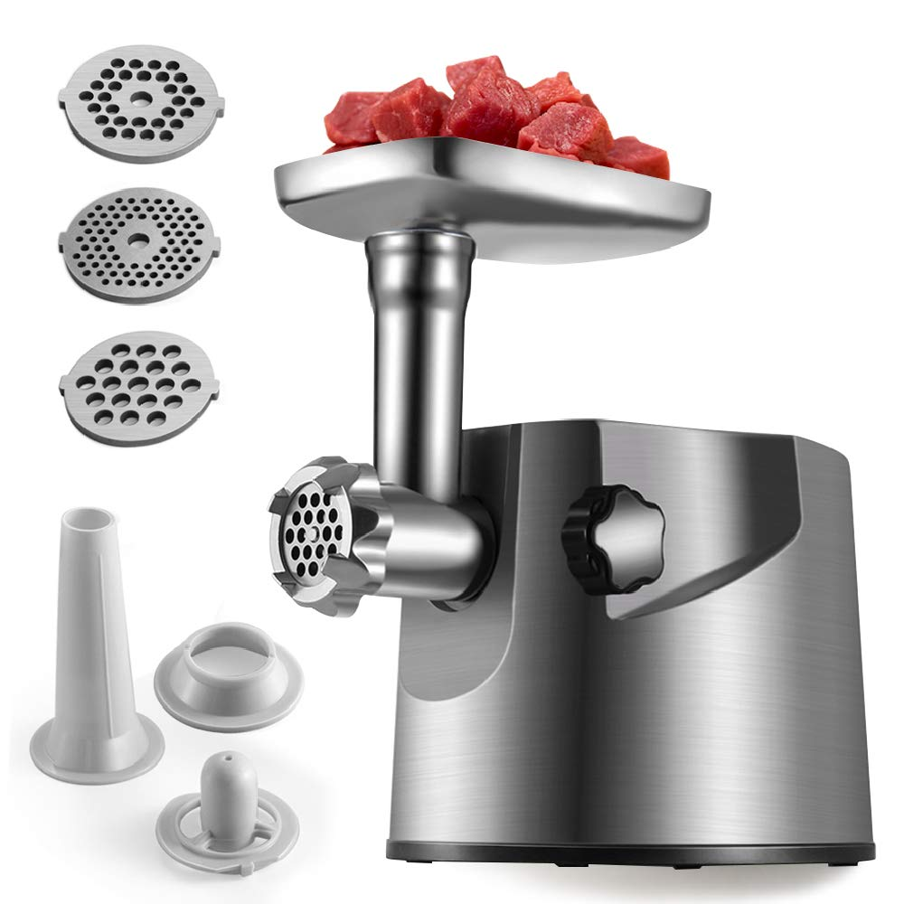 Flexzion Electric Meat Grinder 2000W Heavy Duty Stainless Steel Sausage Stuffer Mincer w/Premium Clean Design 3 Size Grinding Plates 2 Stainless Cutting Blades & Attachment Kits for Kubbe, Patties by Flexzion