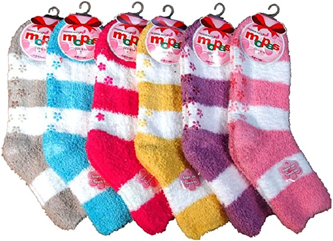 6 Pair Super Soft Winter Non Skid Cozy Fuzzy Stripe Slipper Plush Socks 9-11 Lot