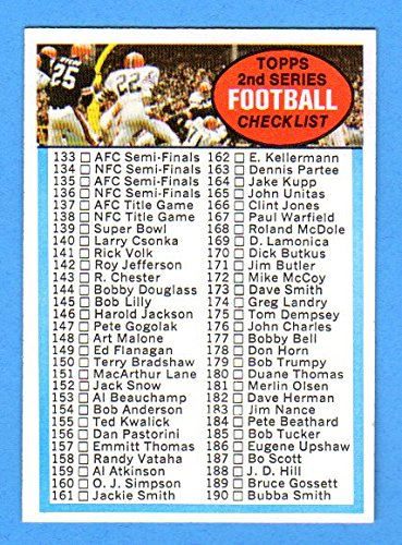 1972 Topps Football Checklist Series #2 (Unmarked) ** Near-Mint** Sharp !! (Bold Color)