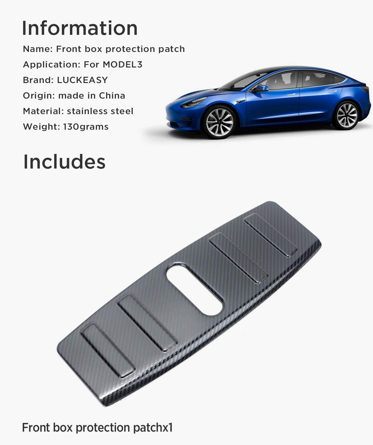 LUCKEASY Front Engine Trunk Box Luggage Bumper Panel for Tesla Model 3 2017-2020 Custom Fit Front Box Protection Patch Silver