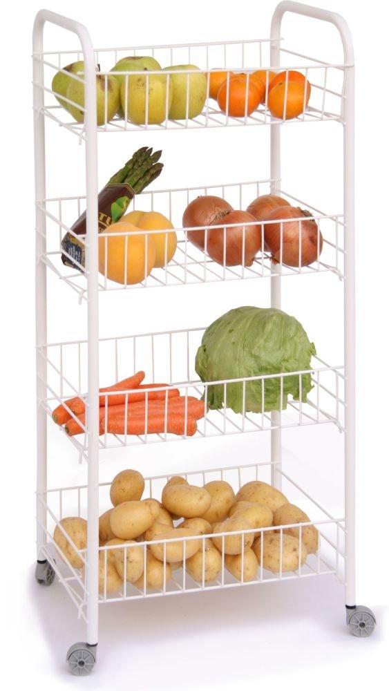 Carrito de cocina en color blanco con 4 niveles (Cocina carro, fruta ...