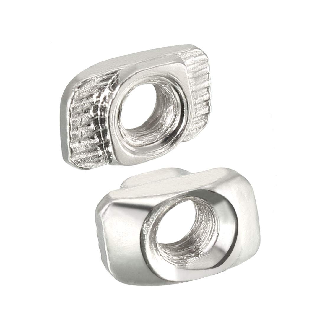 uxcell Sliding T Slot Nuts Carbon Steel Nickel-Plated Pack of 10 M5 Half Round Roll in T-Nut for 3030 Series Aluminum Extrusion Profile