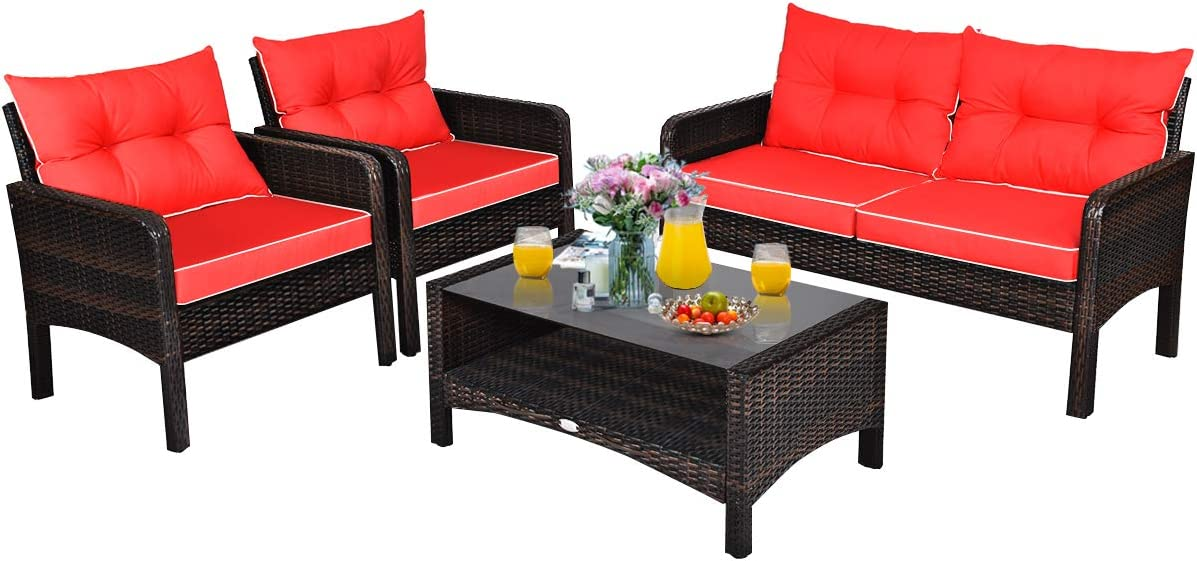 Tangkula 4 Piece Patio Furniture Set, Outdoor Wicker Conversation Set with Glass Top Coffee Table, All Weather Proof and Thick Cushions, Suitable for Porch, Garden, Poolside and Lawn (Red)
