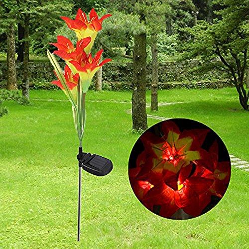 (Winterworm Orange Solar 4 LED Lily Flower Light Outdoor Garden Lawn Color Changing Lamp)
