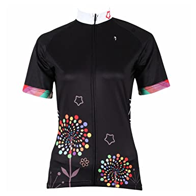 ILPALADINO Women s Cycling Jersey Short Sleeve Biking Shirts Flowers Black  (XXS a00eb9b32