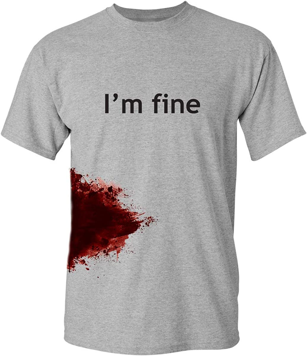 I'm Fine Graphic Novelty Sarcastic Movie Halloween Humor Zombie Funny T Shirt