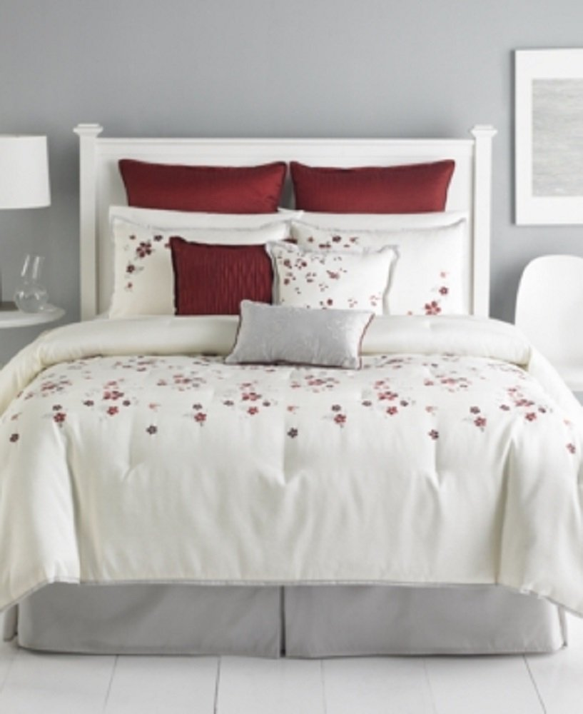 Amazon.com: Martha Stewart Collection Cranberry Blossom 9 Piece King  Comforter Set Bedding: Home U0026 Kitchen