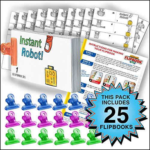 Fliptomania Robot Flipbook Animation Activity Pack - 25 Sets DIY Flip Books