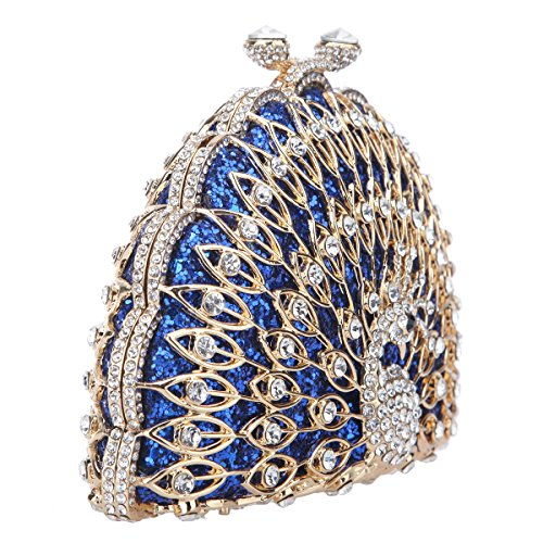 Blue Metallic Evening Bonjanvye Animal Gorgeous Shape Clutch Peacock Purse Bag 4qqd6zw