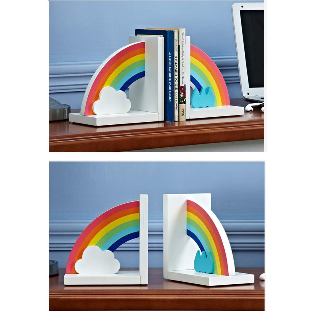 MAGO Wooden Childrens Rainbow Bookends for Boys Or Girls Nursery Or Bedroom,1 Pair