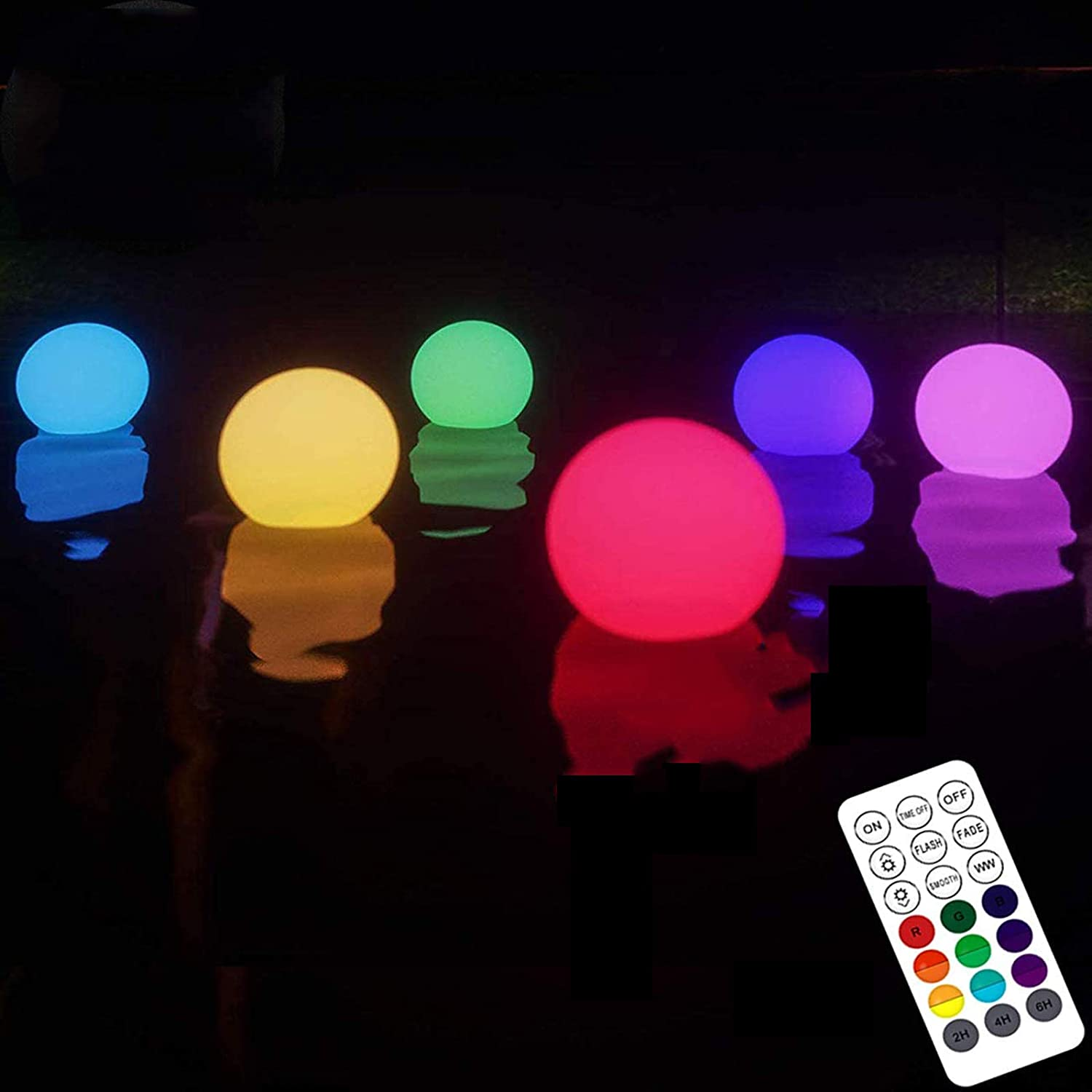 Upgrade Floating Pool Light with Remote (RF), Improved IP67 Full Waterproof, RGB Color Changing LED Pool Balls Battery Operated Light Up Bath Toys, Night Light, Yard Pond Pool Decor Lights (6 Packs)