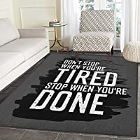 Fitness Print Area rug Motivational Quote Dont Stop Encouraging Keep Moving Brush Strokes Indoor/Outdoor Area Rug 5x6 Charcoal Grey Black White