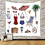 iPrint Polyester Tapestry Wall Hanging,Girls,Nostalgic Female Beach Fashion Objects Solar Summer Travel Adventure Palms Concept,Multicolor,Wall Decor for Bedroom Living Room Dorm