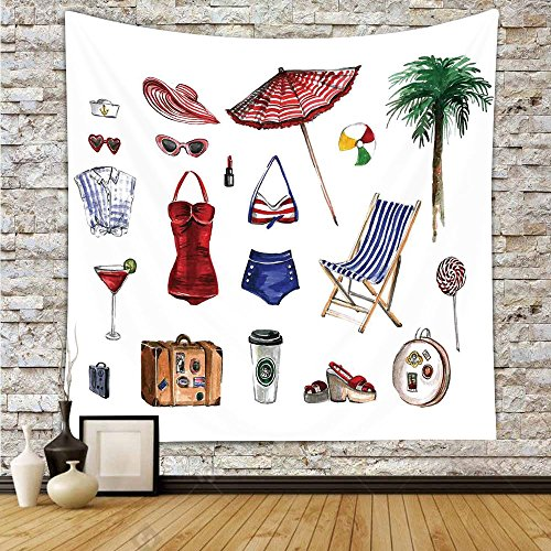 iPrint Polyester Tapestry Wall Hanging,Girls,Nostalgic Female Beach Fashion Objects Solar Summer Travel Adventure Palms Concept,Multicolor,Wall Decor for Bedroom Living Room Dorm by iPrint