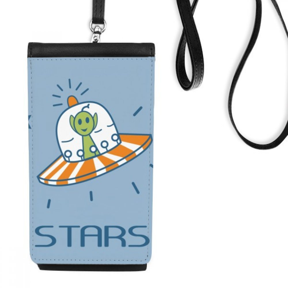 Universe And Alien Travel Among Stars Faux Leather Smartphone Hanging Purse Black Phone Wallet Gift