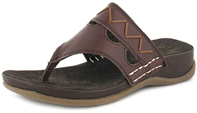 7102d963a025 New Womens Ladies Brown Gluv Leather Toe-Post Wedged Sandals Mules - Brown