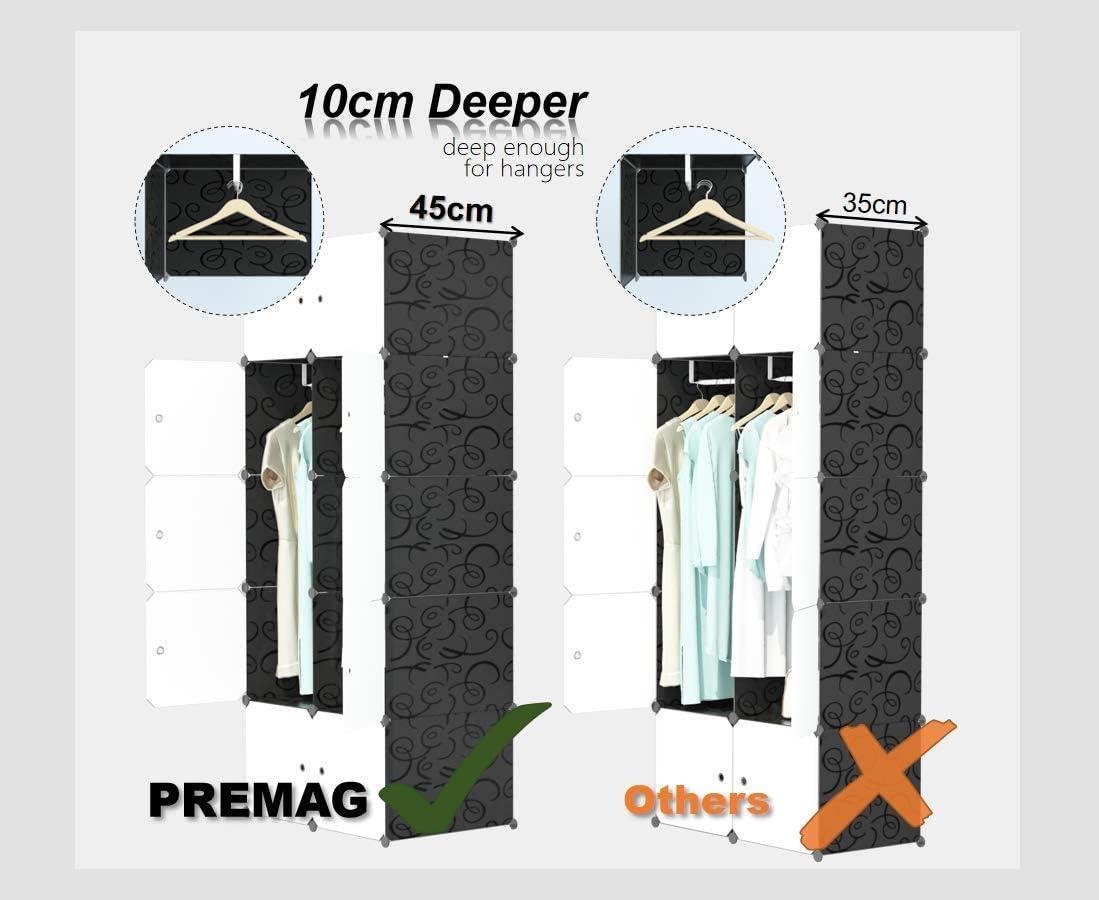 modularer Speicher-Organisator PREMAG DIY tragbarer Kleiderschrank Raumersparnis Armoire tieferer W/ürfel mit h/ängendem Rod 20 W/ürfel
