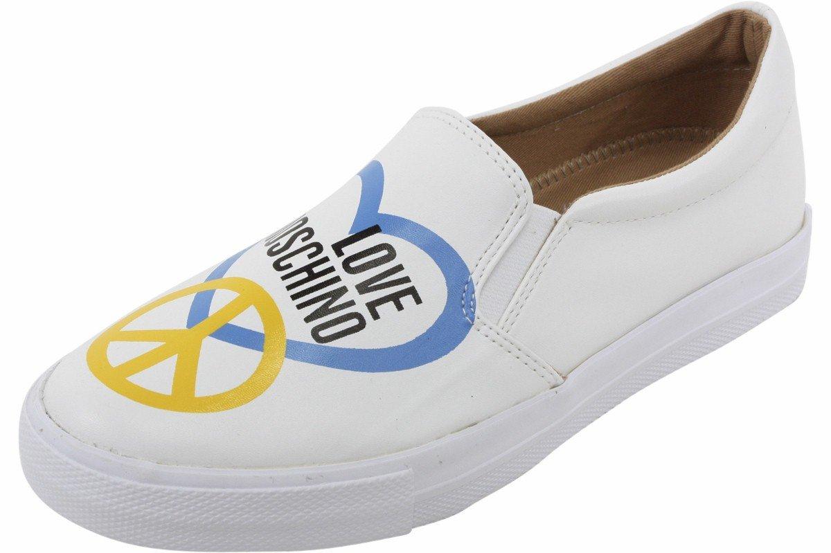 Love Moschino Women's White Slip-On Fashion Sneakers Shoes Sz: 6