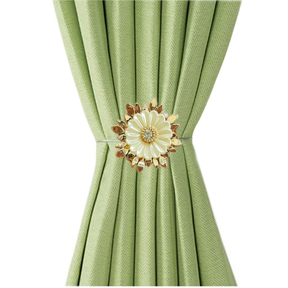 EleCharm Set of 2 American Flower Curtain Tieback Magnetic Curtain Clip Tie Backs (5)