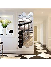 hexagon mirror h2mtool 12 pcs 9cm removable acrylic mirror wall stickers for home living room