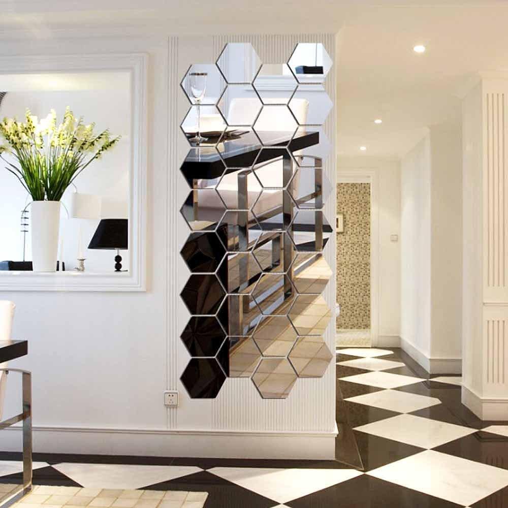 Amazoncom americana home decor - Hexagon Mirror H2mtool 12 Pcs 9cm Removable Acrylic Mirror Wall Stickers For Home Living Room