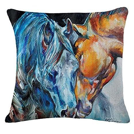 Amazon.com: Pintura al óleo caballo pintado a mano tirar ...