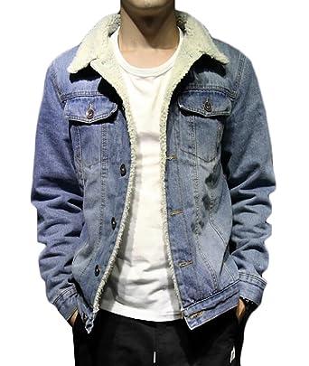 38bc5ac65b3 KLJR Mens Lambs Wool Lined Denim Jacket Thicken Slim Jean Coat at Amazon  Men's Clothing store