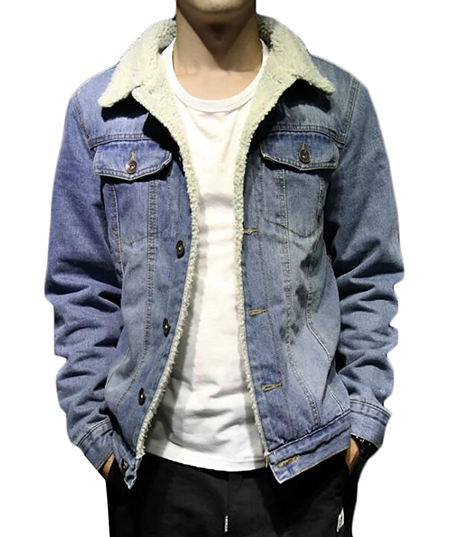 61fa8bb061d KLJR Mens Lambs Wool Lined Denim Jacket Thicken Slim Jean Coat at Amazon  Men's Clothing store: