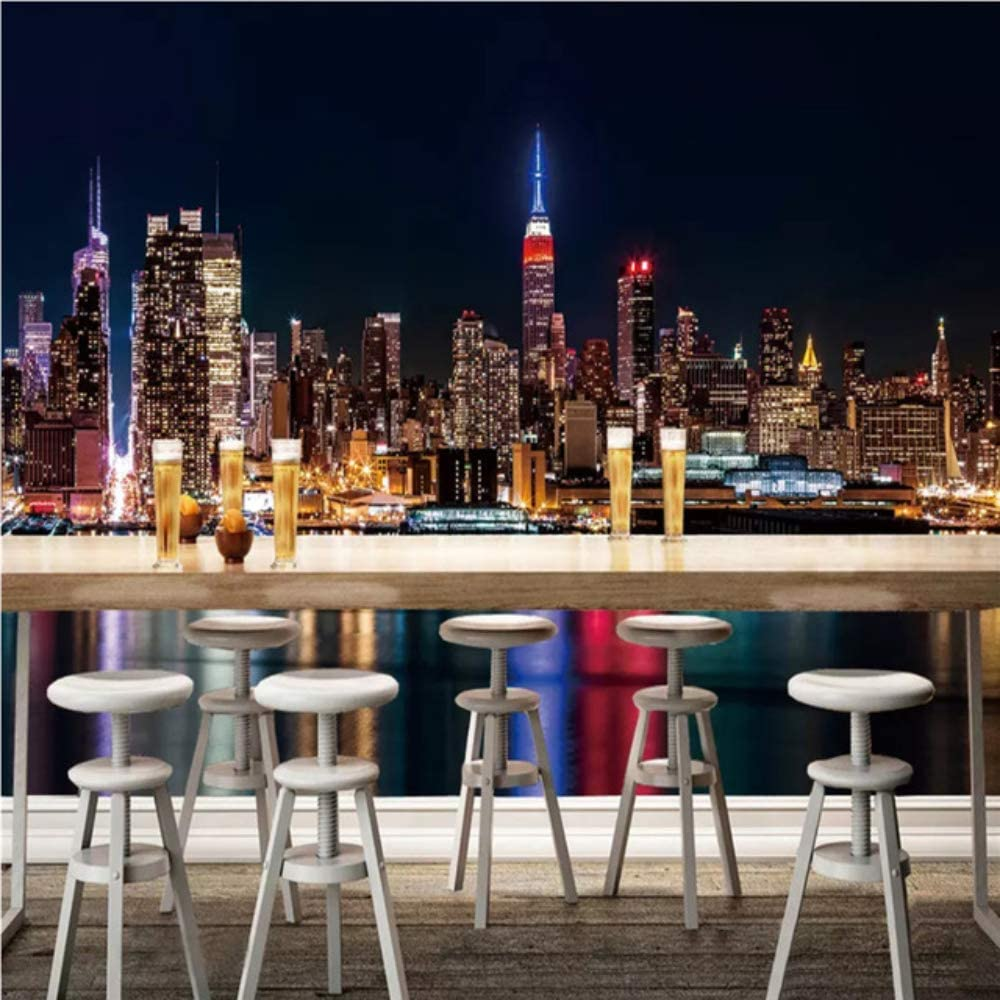 Amazon Com Pbldb Custom Photo Wallpaper 3d Hd New York City Night Scene Wall Mural Wallpapers For Living Room 3d Wall Paper Home Improvement 150x120cm Kitchen Dining