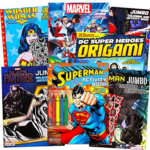 Super Heroes Coloring Pages (Superhero Giant Coloring Book Assortment ~ 7 Books Featuring Avengers, Justice League, Batman, Spiderman and More (Includes)