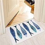 MR FANTASY Fish Entrance Doormat Absorbent Mud Trapper Shoe Scraper Non-slip Kitchen Mat Small Accent Rug 20''x31''
