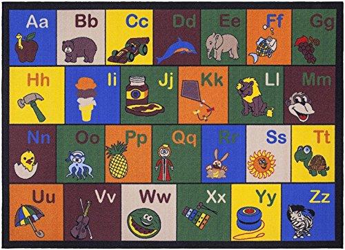 Ottomanson Jenny Collection Children's Multi Color Educational Alphabet (Non-Slip) Kids Classroom Area Rugs, 8'2'' X 9'10'', Multicolor by Ottomanson (Image #1)