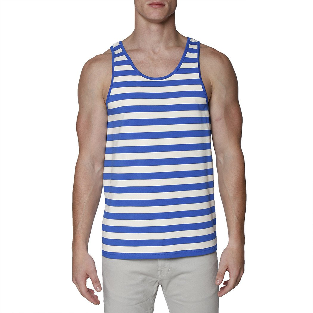 1920s Swimsuits- Women & Mens- History, Sew and Shop Contrast Striped Tank Top $49.00 AT vintagedancer.com
