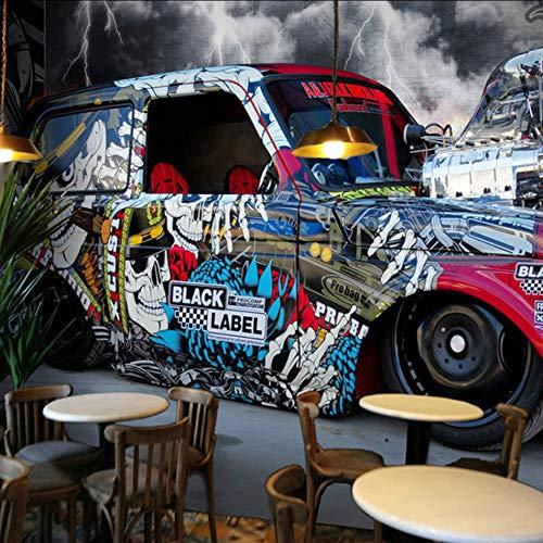 Dalxsh Custom Stereoscopic Car Painting Graffiti 3D Wallpaper Ktv Bar Internet Cafe Guitar Mural Personality Retro 3D Wall Paper-150X120Cm