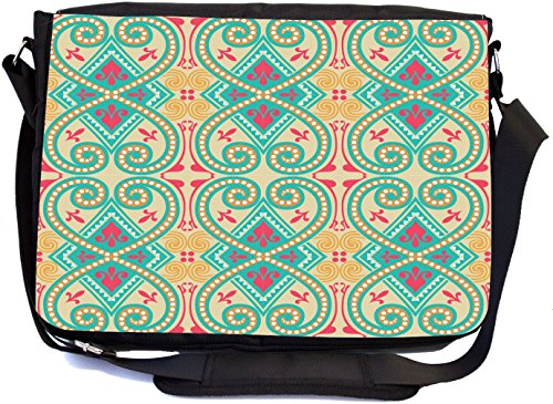 Rikki Knight Seamless Turquoise Pattern Design Design Multifunctional Messenger Bag - School Bag - Laptop Bag - with Padded Insert for School or Work - Includes Matching Compact Mirror