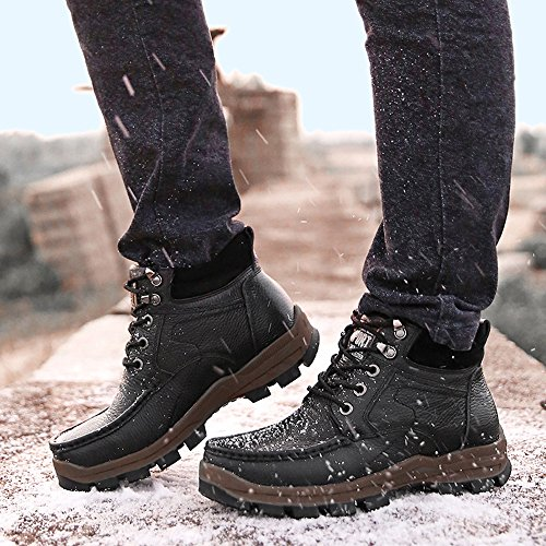 Boot Decadent Fur Leather Lined Winter Chukkua Men's Boots Merrick SUNROLAN Ankle Shoes Plus Hiking Chocolate Faux wqS64aYz