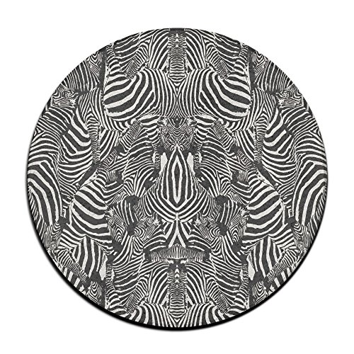 Black Zebra Print Round Floor Rug Doormats For Home Decorator Dining Room Bedroom Kitchen Bathroom Balcony - Round Zebra Print Rug