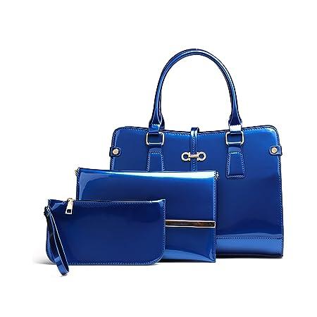 772d4961620e Tisdaini 2018 New Fashion Women s Handbag Patent Leather Three-Piece Handbag  Shoulder Bag + Messenger Bag + Wallet  Amazon.co.uk  Luggage