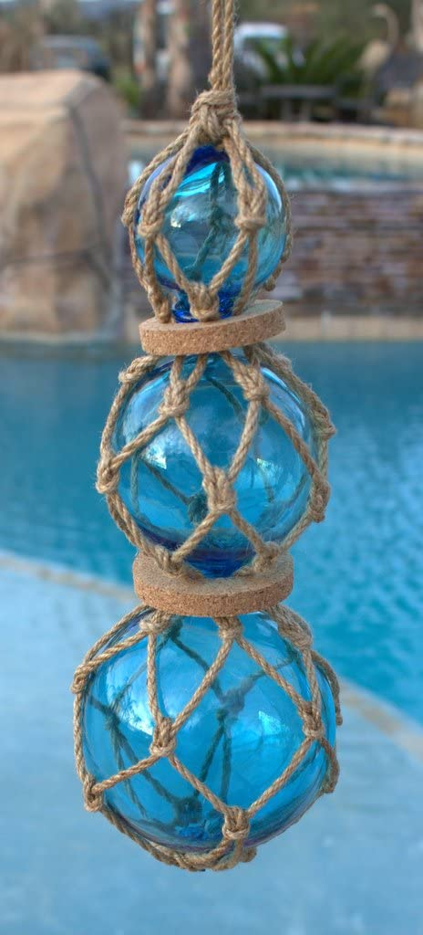 Moby Dick Specialties Blue Roped Buoy Set with 3 Glass Buoys Nautical Decor Fisherman's Net Ball